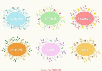 Seasonal Hand Drawn Wreaths - Free vector #151171