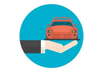 Free Flat Hand And Car Vector Icon - vector gratuit #151181