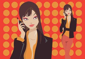 Mobile Phone Girl - Free vector #151781