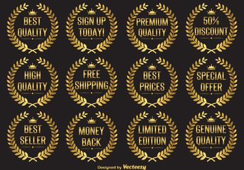 Gold Laurel Wreath Vector Labels - Free vector #151941