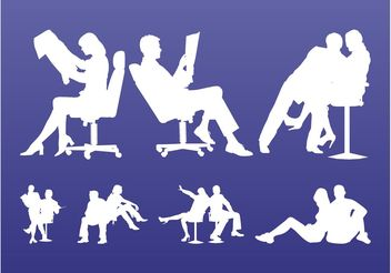 Sitting People Silhouettes - vector gratuit #152211