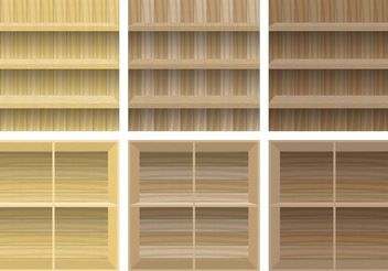 Wooden Shelves - Free vector #152261