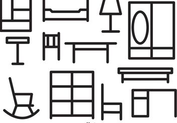 Furniture Outline Vector Icons - vector gratuit #152291