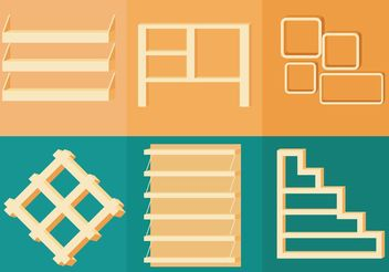 3D Shelves Vectors - vector gratuit #152301