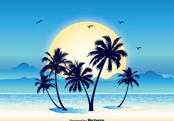 Tropical Scene Illustration - vector gratuit #152571