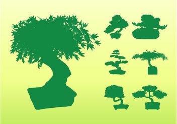 Bonsai Tree Silhouettes - Free vector #152731