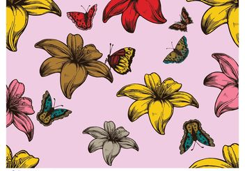 Flowers and Butterflies - Free vector #152751