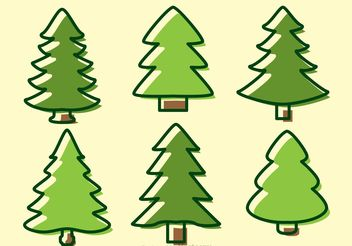 Cedar Trees Cartoon Vectors - Free vector #152771