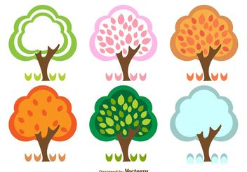 Spring Summer Fall and Winter Trees - Free vector #152961