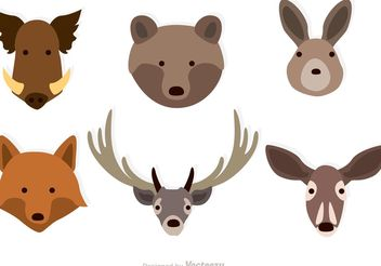 Forest Animals Faces Vectors - Free vector #153021