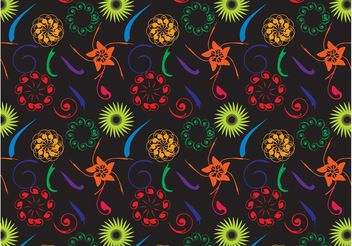 Dark Flowers Pattern - vector gratuit #153301