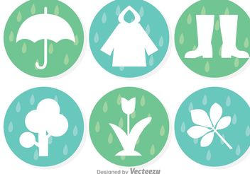 Spring Showers Icons - vector #153361 gratis