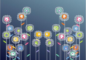Abstract Vector Flowers - Free vector #153381