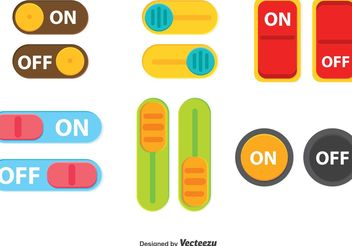 Colorful Switch On Off Button Vector - vector gratuit #154031