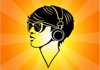 Girl Headphones - vector gratuit #155591