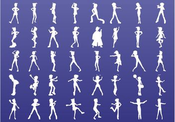 Cute Girls Silhouettes - vector gratuit #156361