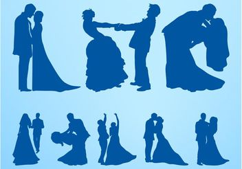 Marriage Silhouettes Set - vector gratuit #156371
