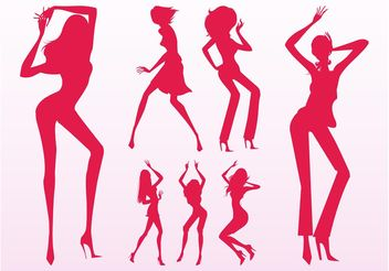 Sexy Dancing Girls Silhouettes - Free vector #156381