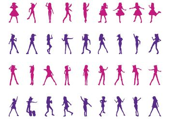 Dancing Girls Silhouettes Set - vector gratuit #156391