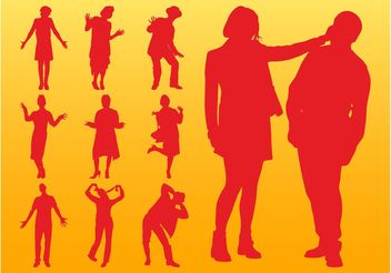 People Silhouettes Layouts - vector gratuit #156401