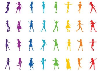 Colorful Girl Silhouettes - vector gratuit #156421