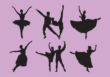 Set of Nutcracker Ballet Dancer Silhouettes - vector #156431 gratis
