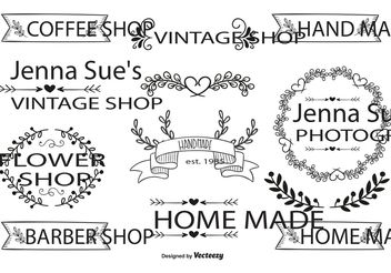 Hand Drawn Style Label Set - Free vector #156551
