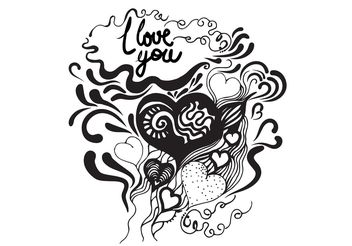 Hand Drawn Heart Vector Poster - vector gratuit #156601
