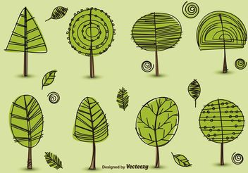 Hand Drawn Trees Vectors - Free vector #156641