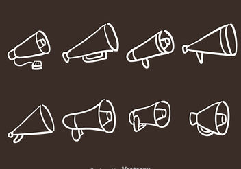Hand Drawn Megaphone Icons - Free vector #156701