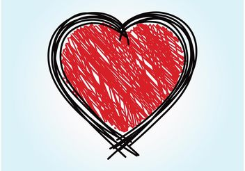 Scribbled Heart Vector - vector gratuit #156791
