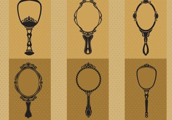 Hand Drawn Vintage Hand Mirror Vectors - бесплатный vector #156951