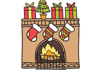 Free Christmas Fireplace Vector - vector gratuit #156971