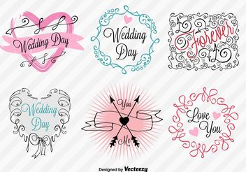 Hand-Drawn Wedding Day Signs - бесплатный vector #156981