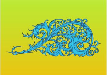 Swirly Floral Decoration - Free vector #157071