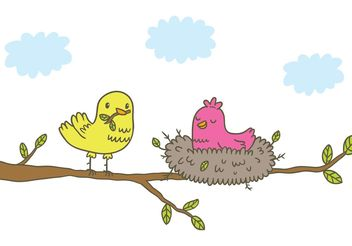 Free Vector Bird in Nest - Free vector #157191