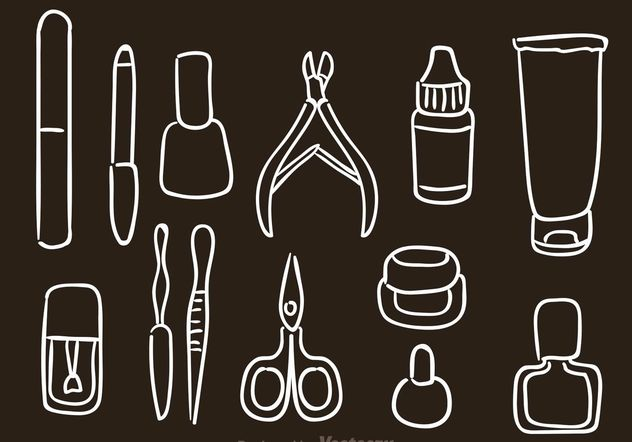 Hand Drawn Manicure Pedicure Vector Icons - Free vector #157231