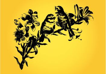 Vintage Birds Drawing - vector gratuit #157551