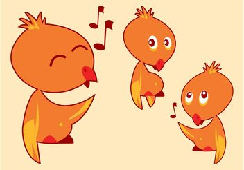 Cartoon Birds Singing - vector gratuit #157621
