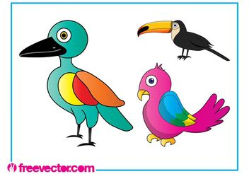 Cartoon Exotic Birds - Free vector #157651