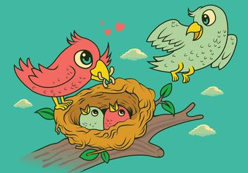 Bird in Nest Family - Free vector #157731