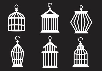 Set Of Vintage Bird Cage Vector - Free vector #157761