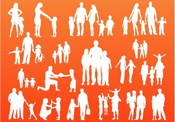 Family Silhouettes Vector - Kostenloses vector #157851