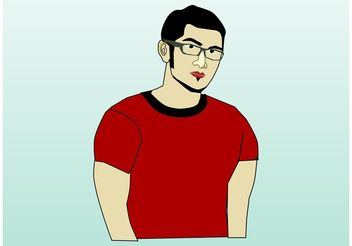 Man With Glasses - vector gratuit #157891
