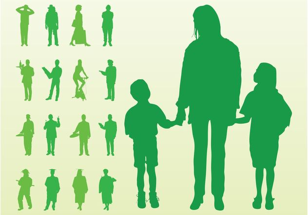 Vector Silhouettes Of People - vector gratuit #157941