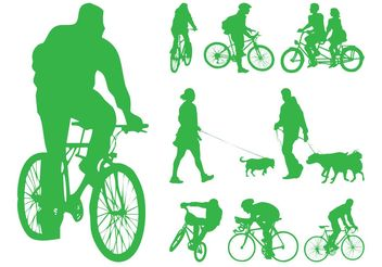 People With Dogs And Bikes - vector gratuit #157961