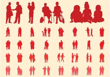 People In Groups Silhouettes Set - Free vector #157981