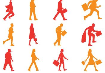 Walking People Silhouettes Pack - vector gratuit #158011