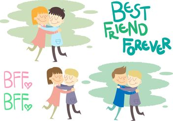 Friends Hugging Vector Set - Free vector #158191