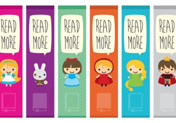 Book Characters Bookmark Vectors - vector gratuit #158291